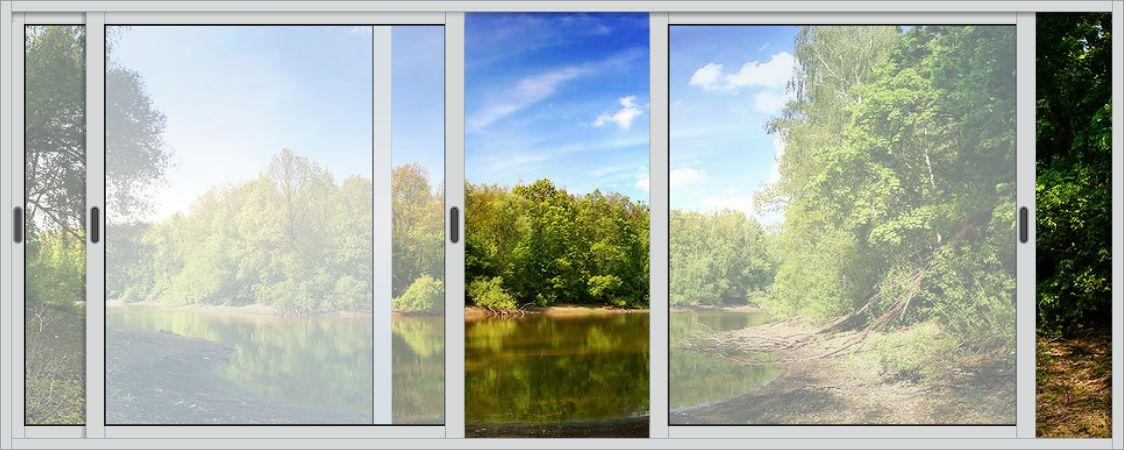 Алюминиевые раздвижные окна : раздвижное окно 3х1,2м 3 створ.