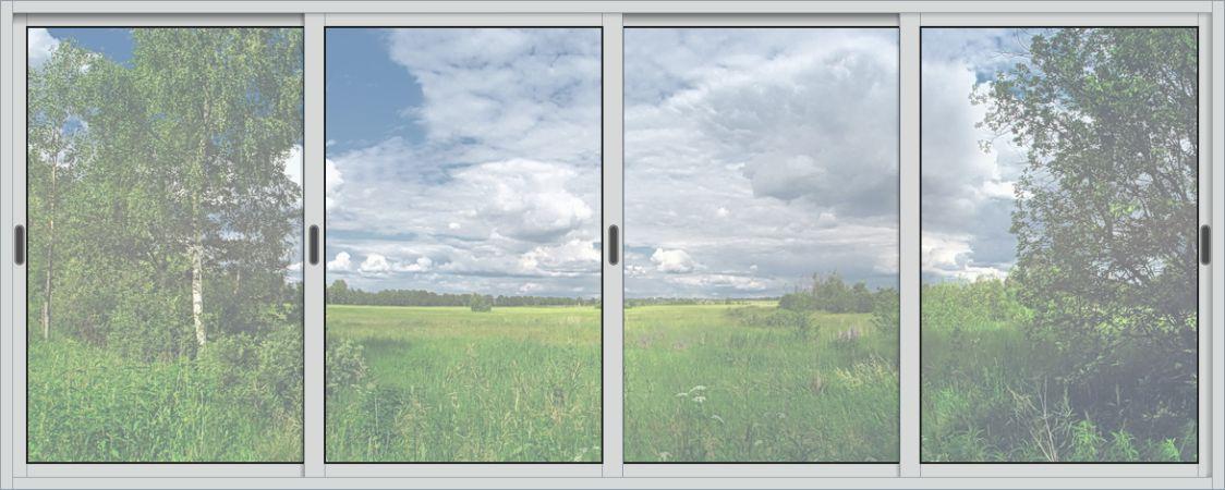 Алюминиевые раздвижные окна : раздвижное окно 3х1,2м 4 створ.